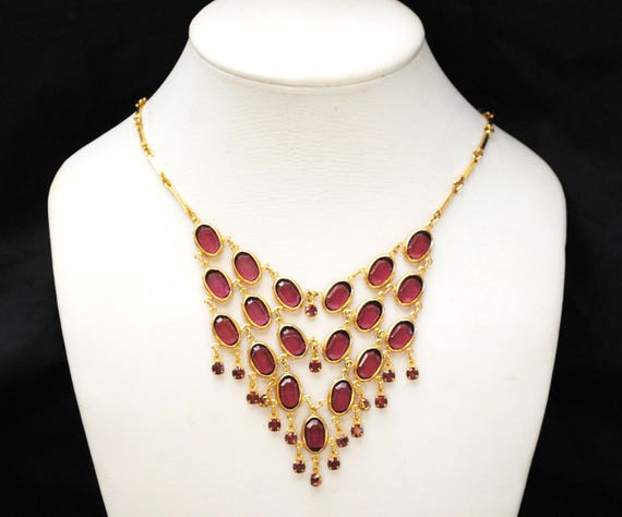 Purple Crystal Bib Necklace - Amethyst Glass Rhinestone - gold plated metal - dangle -