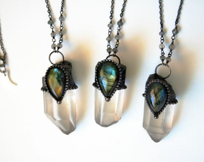 Quartz Point with Labradorite Teardrop Stone Necklace - Small