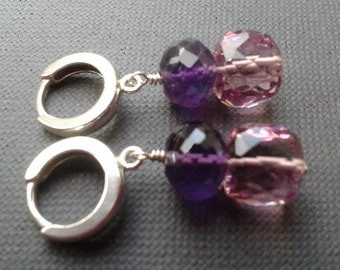 Amethyst and pink mystic quartz sterling silver earrings