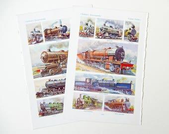 Railway Steam Locomotives, Trains, Vintage Book Pages, 1950's, Paper Ephemera, Scrapbooking, Framing  PE107