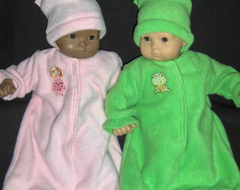 Princess and Frog Applique Fleece  Buntings  and Hats Doll Clothes Handmade To Fit American Girl Bitty Baby twin and Other 15 inch Dolls
