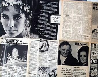 ELIZABETH TAYLOR ~ Cleopatra, National Velvet, Giant, Cat On A Hot Tin Roof, A Place In The Sun ~ B&W Articles from 1964-1977 - Batch 3