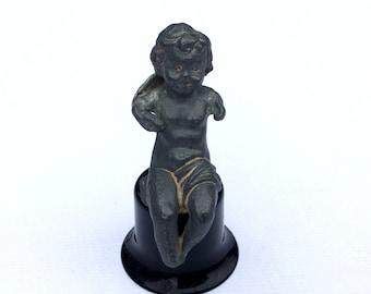 Antique lead Cherub Putti Angel with wings Shelf ornament