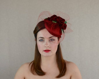SALE - Luxurious Red Silk Pillbox Hat with Silk Roses and Birdcage Veil - Red Pillbox Hat - Wedding - Ascot - Races - Red Wedding Hat