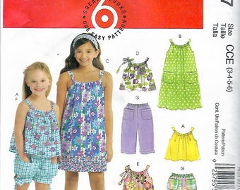 "2009 McCall's 5797 Girl's Tops, Dresses, Shorts & Pants Sewing Pattern Size 3-4-5-6 Breast 22""-23""-24""-25"" UNCUT"