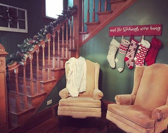 And the stockings were hung solid wood sign