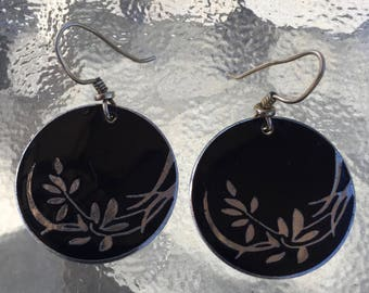 "Laurel Burch signed cloisonne dangle earrings, ""Wind Flowers"", earring wires for pierced ears, black enamel, silver tone metal, 1980's era"