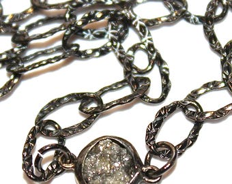 Large Raw Diamond Nugget Necklace Raw Diamond Jewelry Real Diamond Jewelry Authentic Oxidized Silver Bridal Necklace Wedding