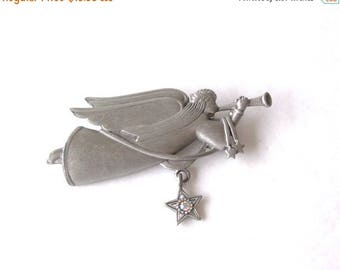 CIJ SALE Vintage JJ Jonette Angel with Horn / Trumpet & Ab Star Pewter MargsMostlyVintage