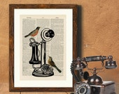 Birds on Telephone 2- vintage image printed on a page from a late 1800s Dictionary Buy 3 get 1 FREE
