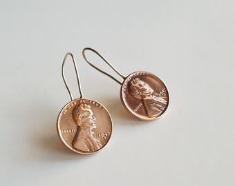 1947 Penny Sterling earrings silver mixed metals; copper earring; gift; jewelry; 70th birthday coin jewelry