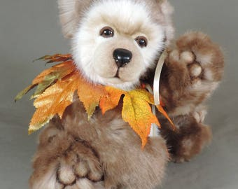 """Artist Teddy Bear, Autumn Bear, OOAK Tissavel faux fur and needle felted face, collectible, handmade teddy, fully jointed, 14"""" tall"""