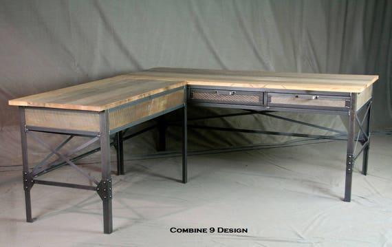 vintage industrial l shaped desk steel and reclaimed wood. Black Bedroom Furniture Sets. Home Design Ideas