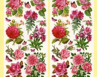 PINK FLOWER STICKERS, Flower Stickers, Victorian Floral Stickers, Violette Stickers, Pink Floral Stickers, Victorian Stickers, Stickers