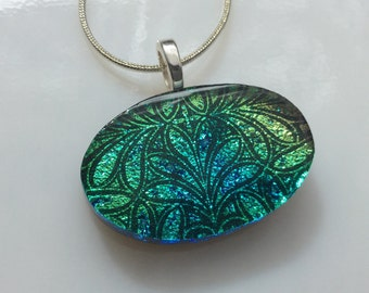 Dichroic Glass Pendant, Fused Glass Jewelry, Blue Green Gold Dichroic Necklace