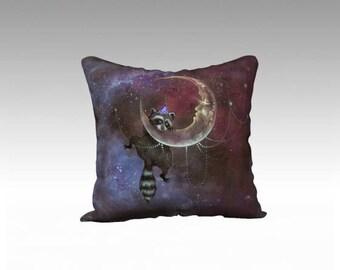 Artist Throw Pillow - animal throw pillow, velvet pillow, space pillow, surreal art, home decor, raccoon, moon, galaxy print, unusual decor