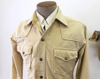 1970s Vintage EDDIE BAUER Men's Western Cowboy Style Long Sleeve Shirt Jacket / Coat - Size MEDIUM