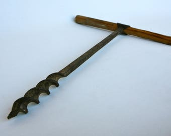Rustic Italian wooden-handled corkscrew drill
