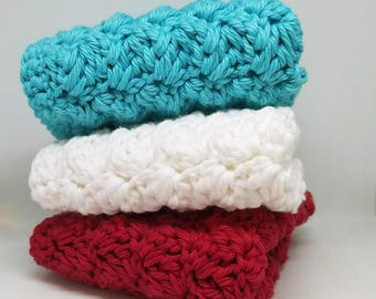 Red Turquoise and White Kitchen Cloths - Cotton Dishcloth - Set of 3 Crocheted Dishtowels - Kitchen Decor - Vintage Style Dish Cloths