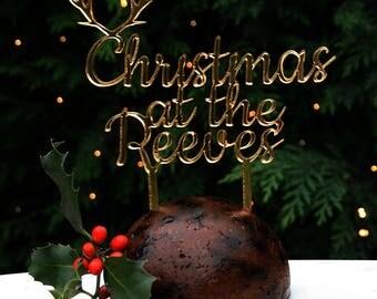 Gold Family Christmas Cake Topper