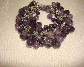 Amethyst Beaded Wire Wrapped Cluster Bracelet