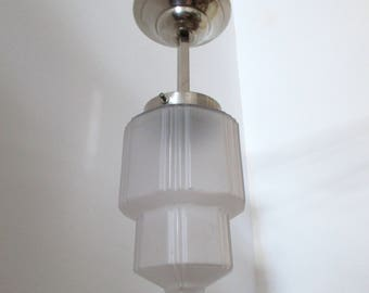 Smaller French Art Deco SKYSCRAPER Hanging Light Fixture 1930s-Rich Sculptured Deco Details-Great Condition