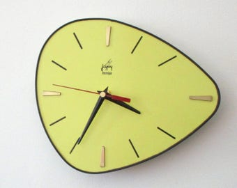 French 1950-60s Atomic Age JAPY Bright Yellow Formica Wall Clock -  Funky Triangular Shape - Formica Wall Clock - Great Working Condition