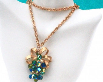 Blue Green Cluster Pendant Necklace ~ Vintage Glass AB Crystal Faceted Grape Dangle