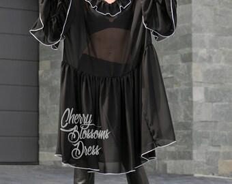 Black maxi dress/ Ruffle dress/ Chiffon Maxi dress / Elegant dress/ Long maxi dress/ Long sleeve maxi/ Plus size dress/ Plus size clothing