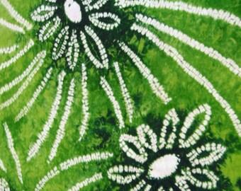Rare Vintage Japanese kimono fabric. Green floral sewing shibori cotton kimono fabric