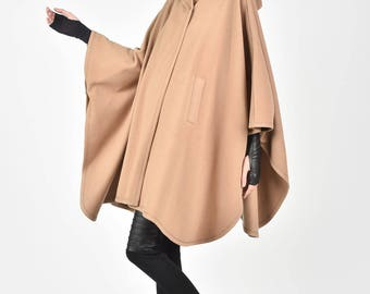 NEW  Winter Beige Poncho Coat / /Hooded Cashmere Poncho Coat HandMade by AAKASHA A90147