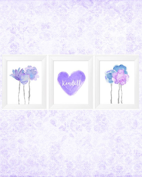 Lavender and Blue Wall Decor, 11x14, Flower and Heart Prints with Custom Name