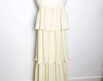Beautiful Cream 1970s Layered Disco Maxi Dress, Size M-L