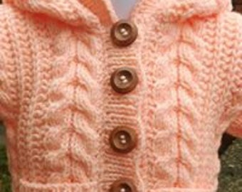 Child's Hooded aran jacket