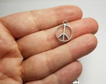 Silver Peace Sign Charms, 6 Peace Sign Charms, Peace Sign Charms, Peace Silver Charms