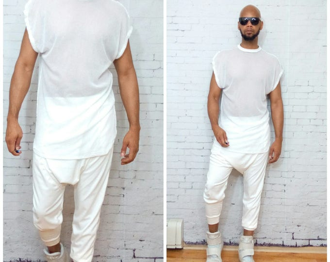 Dropped should White Mesh tee shirt