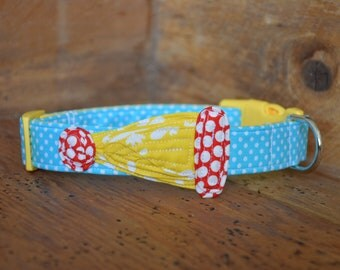 Birthday Dog Collar - Aqua Dot with Yellow and Red Dot Birthday Cap