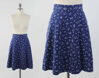 Vintage 70s Cotton Wrap Skirt - Denim Blue and White Floral Calico Boho Festival Skirt by Charm of Hollywood - Size XS to Small