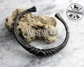 Hand-Forged Twisted Steel Torc - Viking or Celtic Bracelet with Anti-Rust Finish --- Medieval/Blacksmith-Made/Hammered/Jewelry/Cuff/Band