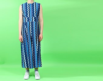 vintage 1970s jumpsuit | culotte playsuit | blue geometric romper | made in usa