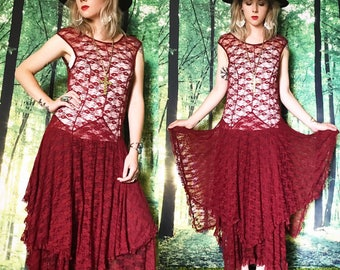 1990s Sheer Burgundy Lace High Low Tiered Maxi Dress