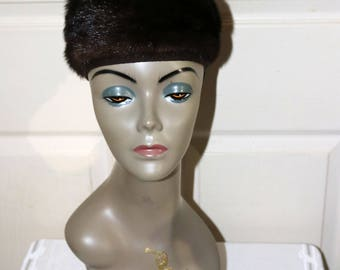 1960s Dark Mink Pillbox Hat  - Good Condition  - Unmarked - Winter Hat - Unlined