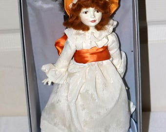 "Vintage Royal Dalton Doll - Excellent Condition - 12"" Doll - White Brocade - Copper Brown Accents - Original Box and Stand"