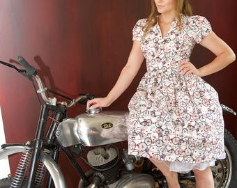 V Neck Bicycle Dress,  Bicycle Dress, Sleeved Dress, Bicycle, Vintage Dress, Retro Dress, 1950s Dress, Bikes, Cycle, Cycling