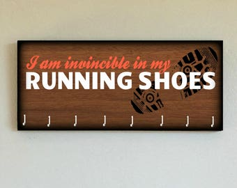 """Race Medal Holder /  Race Medal Hanger. """"I am Invincible in my Running Shoes"""" Wood Wall Mounted Wood Organizer. CUSTOMIZATION Available"""