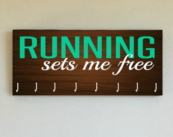 """Race Medal Holder /  Race Medal Hanger. """"Running Sets Me Free"""" Wood Wall Mounted Wood Organizer. CUSTOMIZATION Available"""