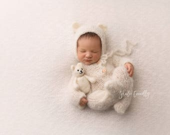 Newborn Footie Pajama/ Long Sleeve Onesie Romper and Bear Bonnet set/ Luxury yarn Photography Prop/ Baby Alpaca Romper