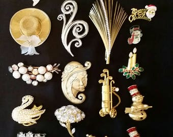 21 Costume Pins & Brooches