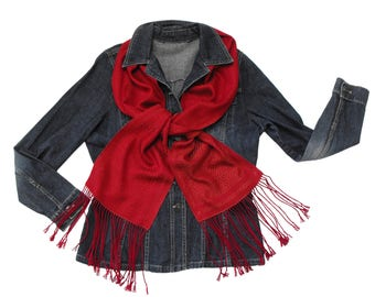 Red Hand Woven Scarf, Burgundy Red Scarf, Tencel Scarf Handwoven, Red and Adobe Scarf, Twill Lattice Scarf, Women Scarf Ladies Men Scarf Man