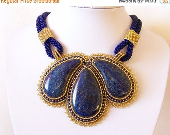 15% SALE Statement Beadwork Bead Embroidery Pendant Necklace with Lapis Lazuli - ROYAL GARDENS - dark blue gold - fashion necklace
